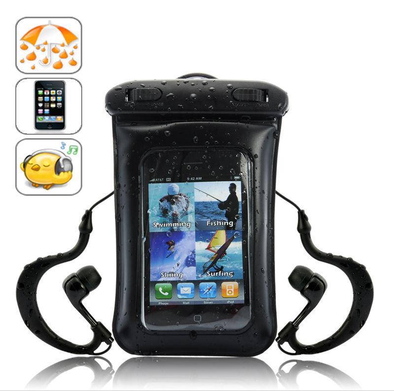 ซองใส่ไอโฟนหรือโทรศัพท์แอนดรอยแบบกันน้ำได้พร้อมหูฟัง